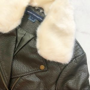 French Connection Jackets & Coats - Olive Faux Leather Faux Fur Collar Moto Jacket